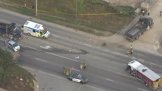 Several damaged vehicles are seen at the site of a fatal crash on Steeles Avenue on Sept. 15, 2017. (Chopper 24)