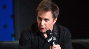 "Actor Sam Rockwell speaks during a press conference at the Toronto International Film Festival for the movie ""Three Billboards Outside of Ebbing, Missouri"" on Monday, September 11, 2017. THE CANADIAN PRESS/Chris Donovan"