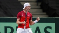 Canada's Denis Shapovalov celebrates a point against India's Ramkumar Ramanathan during Davis Cup singles tennis in Edmonton, Alta., on Sunday September 17, 2017. THE CANADIAN PRESS/Jason Franson
