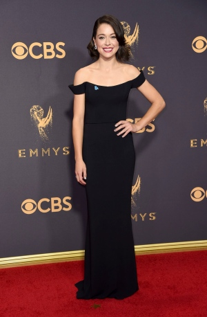 Tatiana Maslany arrives at the 69th Primetime Emmy Awards on Sunday, Sept. 17, 2017, at the Microsoft Theater in Los Angeles. (Photo by Richard Shotwell/Invision/AP)