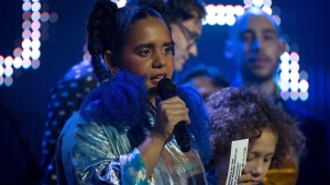 Lido Pimienta, 2017 winner of the Polaris Music Prize accepts her award in Toronto on Monday, September 18, 2017. THE CANADIAN PRESS/Chris Donovan