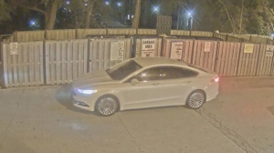 The vehicle wanted in connection with the murder of Anthony Soares on Sept. 14 is shown in surveillance camera footage. (TPS)