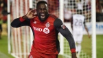 "Toronto FC forward Jozy Altidore (17) celebrates after scoring against the Philadelphia Union during second half MLS soccer action in Toronto on Wednesday, August 23, 2017. Before their Aug. 27 meeting at Saputo Stadium,Toronto FC's Altidore said it would be ""beautiful"" to knock the rival Montreal Impact out of the MLS playoffs. THE CANADIAN PRESS/Nathan Denette"
