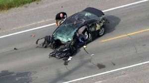 York Regional Police are seen responding to a multi-vehicle crash south of Keswick.