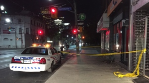 A man suffered serious injuries after a stabbing in Toronto's Moss Park neighbourhood late Tuesday night. (Michael Nguyen/ CP24)