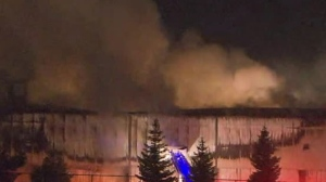 Crews are on the scene of a fire at a waste management facility in Markham.