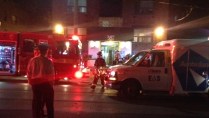 Crews were called to a building on Sherbourne Street, near Carlton Street, for a three-alarm fire. (Cam Woolley/ CP24)