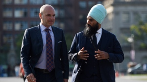 NDP leadership candidate Jagmeet Singh walks with NDP MP Nathan Cullen on Parliament Hill in Ottawa on Wednesday, Sept. 20, 2017. THE CANADIAN PRESS/Sean Kilpatrick
