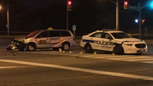 The SIU is on the scene of a collision involving a Peel police cruiser and a taxi. (Michael Nguyen/ CP24)