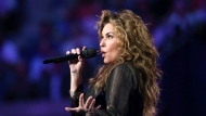 """Shania Twain performs during opening ceremonies for the U.S. Open tennis tournament in New York, Monday, Aug. 28, 2017. Bell Media says the five-time Grammy Award winner will be a mentor on the inaugural season of """"The Launch,"""" which is in production. THE CANADIAN PRESS/AP-Kathy Willens"""