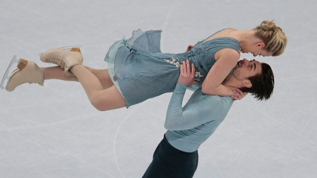 Madison Hubbell and Zachary Donohue, of the United States, skate their free dance at the World figure skating championships in Helsinki, Finland, on Saturday, April 1, 2017. (AP Photo/Ivan Sekretarev)