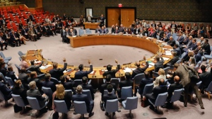 The United Nations Security Council votes on a resolution to collect evidence to prosecute Islamic State, during the U.N. General Assembly, Thursday Sept. 21, 2017 at U.N. headquarters. (AP Photo/Bebeto Matthews)