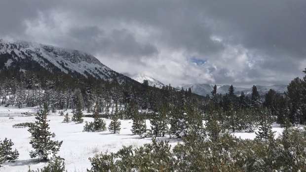 Snow Falls on Sierra Nevada on Last Day of Summer