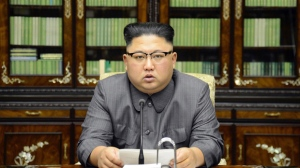 "In this Thursday, Sept. 21, 2017, photo distributed on Friday, Sept. 22, 2017, by the North Korean government, North Korean leader Kim Jong Un delivers a statement in response to U.S. President Donald Trump's speech to the United Nations, in Pyongyang, North Korea. Kim, in an extraordinary and direct rebuke, called Trump ""deranged"" and said he will ""pay dearly"" for his threats, a possible indication of more powerful weapons tests on the horizon. Independent journalists were not given access to cover the event depicted in this image distributed by the Korean Central News Agency via Korea News Service. The content of this image is as provided and cannot be independently verified. (Korean Central News Agency/Korea News Service via AP)"