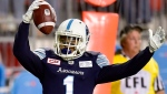 Toronto Argonauts running back Anthony Coombs (1) celebrates his touchdown during second half CFL action against the Ottawa Redblacks, in Toronto, Monday, July 24, 2017. THE CANADIAN PRESS/Frank Gunn