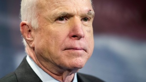 In this July 27, 2017, file photo, Sen. John McCain, R-Ariz., speaks to reporters on Capitol Hill in Washington. McCain says he won't vote for the Republican bill repealing the Obama health care law. His statement likely deals a fatal blow to the last-gasp GOP measure in a Senate showdown expected next week. (AP Photo/Cliff Owen, file)