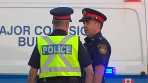 A file photo of Peel Regional Police officers is shown.
