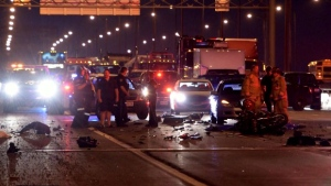 The Toronto-bound lanes of the QEW are closed at the Burlington Skyway following a fatal collision.