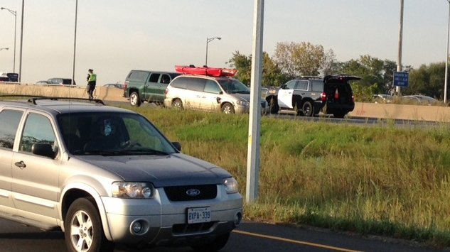 Police are investigating the cause of a fatal crash in the Toronto-bound lanes of the QEW on the Burlington Skyway this morning. (Cam Woolley/ CP24)