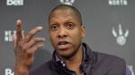 Toronto Raptors president and general manager Masai Ujiri holds a media availability in Toronto, Thursday, April 16, 2015. THE CANADIAN PRESS/Nathan Dentte