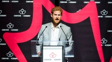 Prince Harry speaks at the Canadian Institute for Military and Veterans Mental Health Research conference(CIMVHR) in Toronto on Monday, September 25, 2017. THE CANADIAN PRESS/Nathan Denette