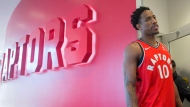 Toronto Raptors DeMar DeRozan speaks to a journalist during a media day in Toronto on Monday, September 25, 2017. THE CANADIAN PRESS/Chris Young