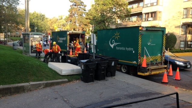 Crews are working to restore power to customers in Forest Hill. (Cam Woolley/ CP24)