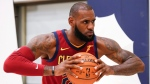 Cleveland Cavaliers' LeBron James poses for a portrait during the NBA basketball team media day, Monday, Sept. 25, 2017, in Independence, Ohio. (AP Photo/Ron Schwane)