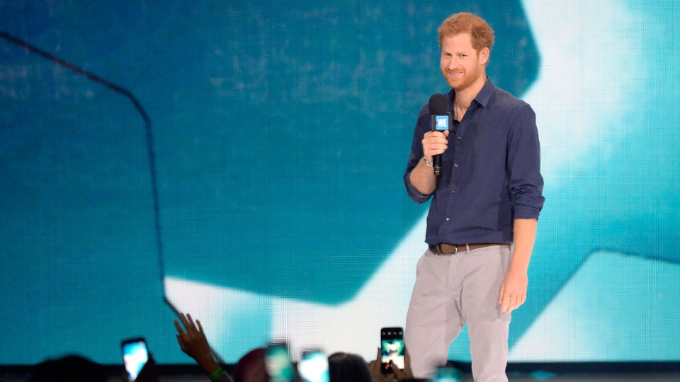 Prince Harry speaks during WE Day Toronto celebrations on Thursday, Sept. 28, 2017. WE Charity is a children's charity founded in 1995 by child's rights advocate Craig Kielburger. THE CANADIAN PRESS/Nathan Denette