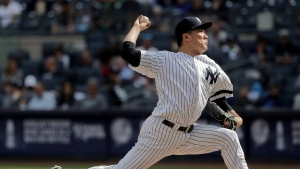 New York Yankees pitcher Masahiro Tanaka delivers against the Toronto Blue Jays during the sixth inning of a baseball game, Friday, Sept. 29, 2017 in New York. (AP Photo/Julie Jacobson)