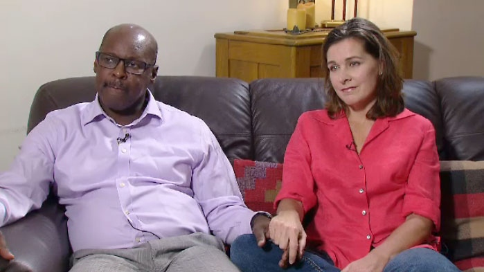 Toronto Police Chief Mark Saunders sits with his wife Stacey at their Toronto home on September 29, 2017.