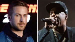"""This combination photo shows Ryan Gosling at CinemaCon 2017 on March 27, 2017, in Las Vegas, left, and Jay-Z performing at a campaign rally for Democratic presidential candidate Hillary Clinton in Cleveland on Nov. 4, 2016. Gosling will host the 43rd season opener of """"Saturday Night Live,"""" on Sept. 30. Jay-Z will be the musical guest. (AP Photo/File)"""