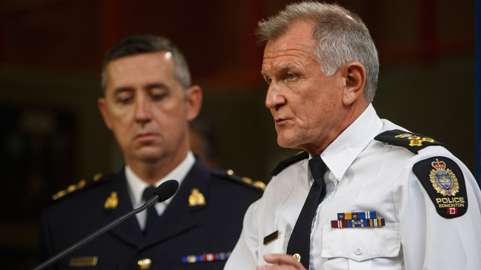 Edmonton Police Chief Rod Knecht , right, and RCMP Assistant Commissioner Marlin Degrand speak about the terrorist incident in Edmonton, Alta., on Sunday October 1, 2017. THE CANADIAN PRESS/Jason Franson