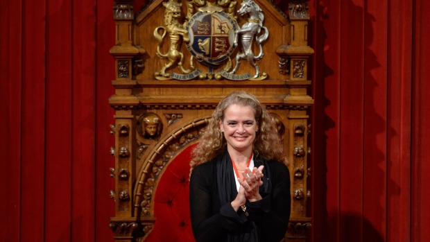 Canada's 29th Governor General Julie Payette looks on from her seat in the Senate chamber during her installation ceremony, in Ottawa on Monday, October 2, 2017. THE CANADIAN PRESS/Adrian Wyld