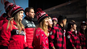 Olympic hopefuls for 2018 show off Hudson Bay Company's new line of Olympic gear at the Eaton Centre in Toronto on Tuesday, Oct. 3, 2017. THE CANADIAN PRESS/Chris Donovan