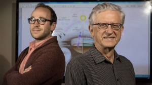 McMaster University researchers Ben Pearce (left), a PhD student in department of physics and astronomy, and Ralph Pudritz (right), a professor in department of physics and astronomy, are shown in a handout photo. THE CANADIAN PRESS/HO-McMaster University-JD Howell