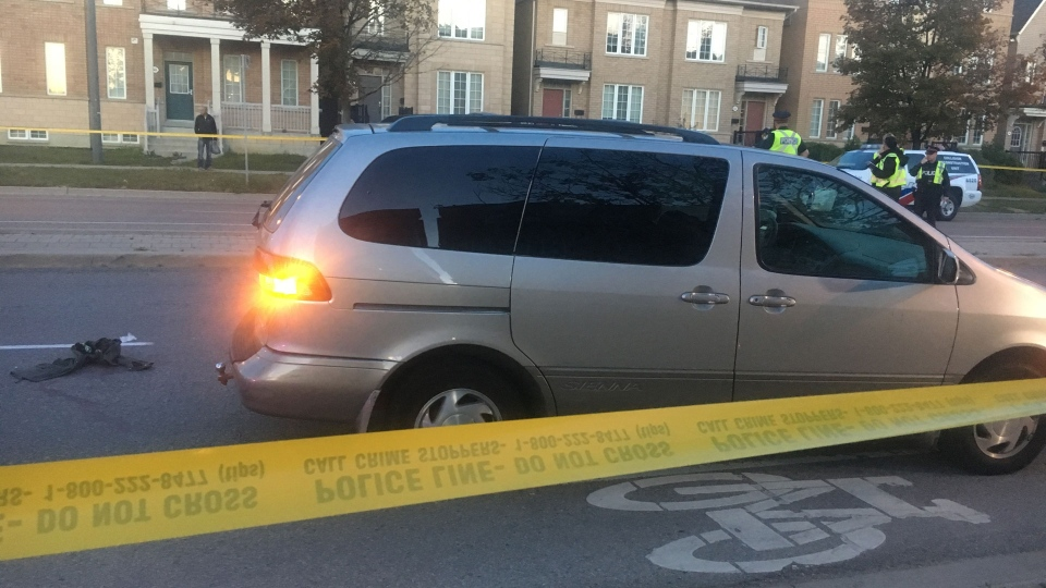 Police investigate after a pedestrian was fatally struck near Sentinel and Assiniboine roads Tuesday October 3, 2017. (Leena Latafat /CP24)
