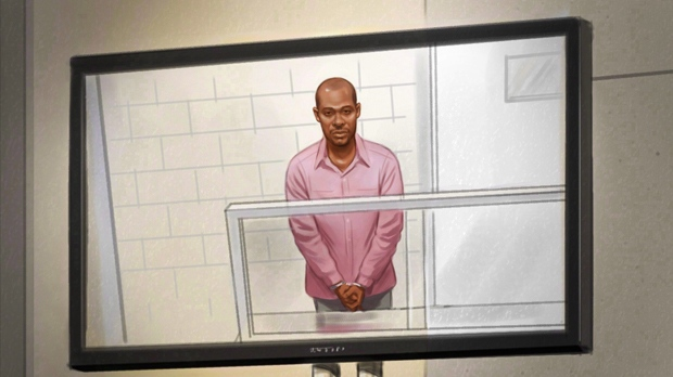 Ali Omar Ader is shown in court in an artist's sketch.  THE CANADIAN PRESS/Greg Banning