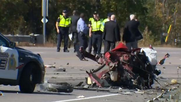 Emergency crews are seen on scene of a fatal crash in Hamilton. (CTV News)