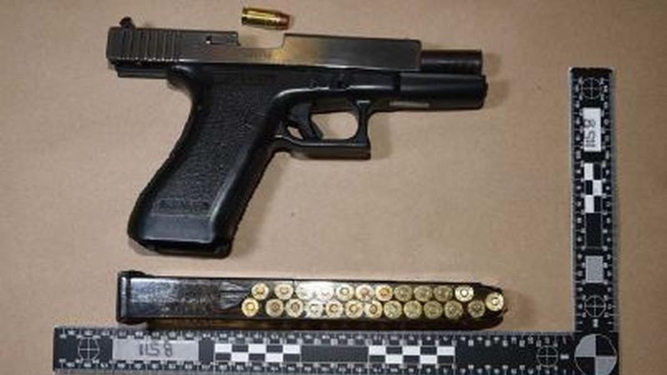 A firearm allegedly seized by Toronto police during the execution of a search warrant in Oakville on October 7, 2017 is pictured. (Handout /Toronto police)