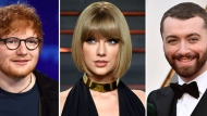 This combination photo shows Ed Sheeran, from left, Taylor Swift and Sam Smith, who are among the performers slated to take the stage during the iHeartRadio Jingle Ball tour that will hit certain cities during the holiday season and be a national TV special. (AP Photo/File)