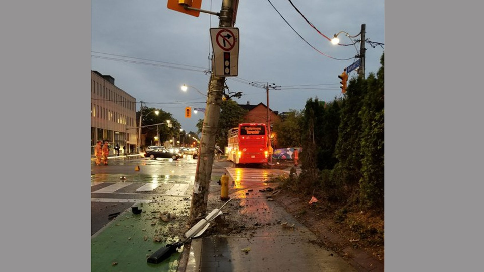 Debris sits in the road following a collision between a double-decker bus and a car near Sherbourne and Gerrard streets Wednesday October 11, 2017. (@Painkillaah /Twitter)