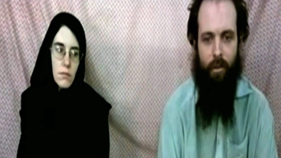 This frame grab from video provided by the Coleman family shows Caitlan Coleman and Joshua Boyle. An American woman, her Canadian husband and their three young children have been released after years held captive by a network with ties to the Taliban. THE CANADIAN PRESS/AP-Coleman Family