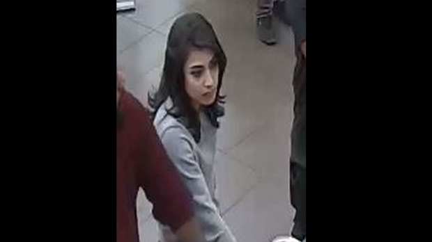 A suspect wanted in an assault and arson incident at Agincourt Mall is shown in a surveillance camera image. (TPS)
