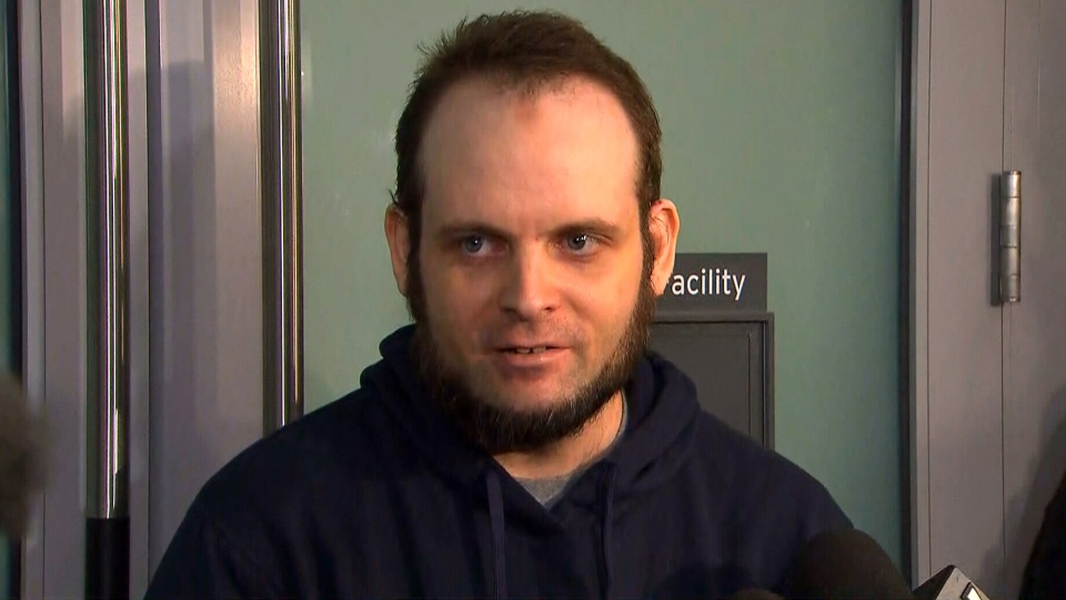 Joshua Boyle speaks to reporters at Toronto Pearson International Airport on Friday, Oct. 13, 2017.