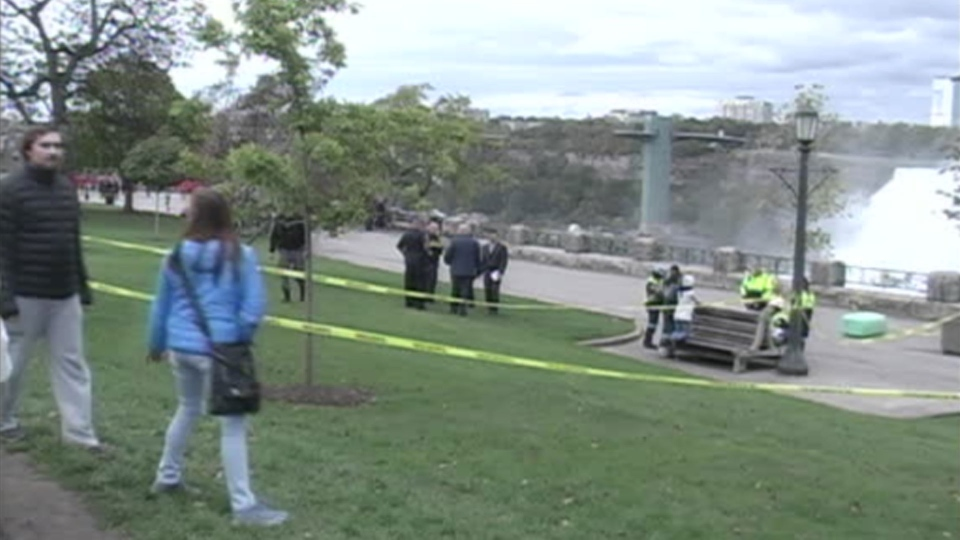 Police tape is pictured at Niagara Falls after a child fell over a railing Sunday October 15, 2017.