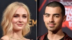 "This combination photo shows Sophie Turner at the 68th Primetime Emmy Awards in Los Angeles on Sept. 18, 2016, left, and musician Joe Jonas at the iHeartRadio Music Awards in Inglewood, Calif., on March 5, 2017. Turner and Jonas are engaged. They shared the same photo on Instagram Sunday, Oct. 15, 2017, of her hand sporting a diamond ring and resting on top of his. Turner noted in her caption: ""I said yes."" (Photo by Jordan Strauss/Invision/AP, File)"