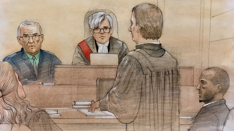 Dr. Byrne testifies before a judge about the health of Taquisha McKitty, a Brampton woman whose family is fighting to keep her on life support after a drug overdose. (Sketch by John Mantha)