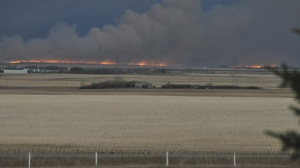 A wildfire burns in the distance in Wheatland County. (Photo courtesy: Glenn Koester)
