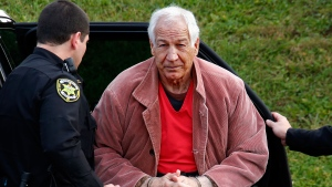 In this Oct. 29, 2015, file photo, former Penn State University assistant football coach Jerry Sandusky arrives for an appeal hearing at the Centre County Courthouse in Bellefonte, Pa. (AP Photo/Gene J. Puskar, File)
